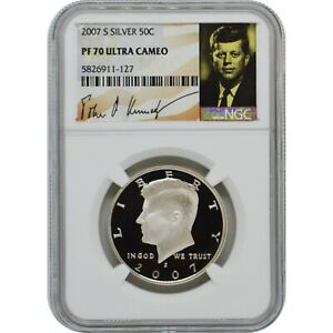 2007-S Proof Silver Kennedy Half Dollar Coin NGC PF70 UC Kennedy Signature