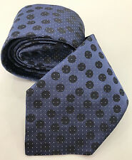 PAUL SMITH Corbata azul de gris con lunares & Tiny plata 100% Seda Tejido
