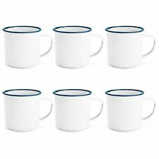White Enamel Mugs Cups Retro Camping Outdoor Coffee Tea Mug Cup 350ml x6