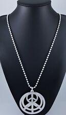 "Matt Silver Ball Chain Three Peace Pendants Long Boho Lagenlook Necklace 33"""