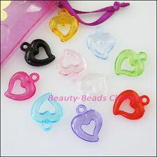 35Pcs Mixed Plastic Acrylic Lovely Heart Circle Charms Pendants 15x19mm