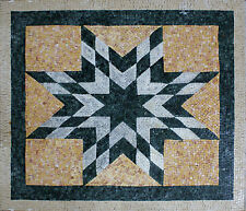Art Tile Stone Nautical Star Black And White Marble Mosaic GEO1966