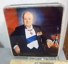 Winston Churchill British Biscuit Tin, Great graphics & colors (empty), 2 lb tin