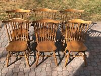 S Bent & Bros Colonial Windsor Dining Chairs, Set Of 6, Vintage Maple