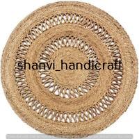 Natural Hand Woven Reversible Round Jute Rug Braided Antique Indoor Floor Carpet