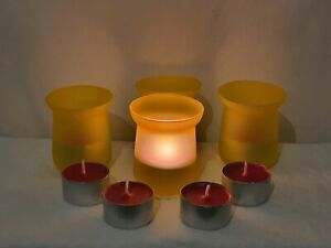 4X YELLOW COLOURED TEA LIGHT GLASS CANDLE HOLDERS WITH SCENTED CANDLES