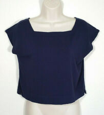 Eileen Fisher Women Extra Small Blue Crop Top Blouse Viscose Stretch Square Neck