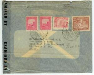 1945 Columbia WWII censored cover with Zeppelin vignette