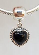 Authentic PANDORA bracelet black Charm MI AMOR ONYX DANGLE Clip 791046ON Retired