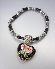ARTISANAL Black Multi Cloisonne Enamel Heart Charm Beads Stretch Bracelet