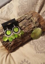 Lime Green Shell Necklace & Earring Set
