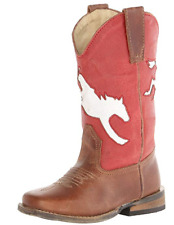 Roper Western Boots Boy Bronco Inlay Leather Brown 09-018-0903-0301 BR