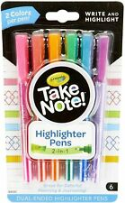 Crayola Take Note Dual Tip Highlighter Pens, Assorted Colors, 6 Count