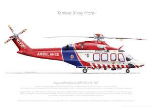 AW139 VH-YXH 2021 - A3+ Profile Print