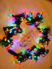 Small Multi-color Faceted LED Christmas Lights Lot of 6 Strings plus Spare Bulbs