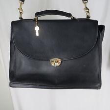 Jack Georges Black Leather Briefcase Single Gusset Messenger Shoulder Bag USA