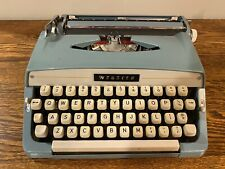 Vintage Brother Webster Portable Typewriter Blue 1960s Great condition W/ Case