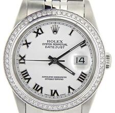 Rolex Datejust Mens Stainless Steel Watch White Roman Dial 1 Ct Diamond Bezel