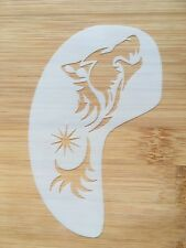 Face paint stencil reusable washable howling wolf eye-cheek c.11cms x 7 cms
