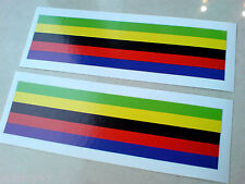 WORLD CHAMPIONSHIP Arcobaleno Strisce CASCO Adesivi Decalcomanie 2 OFF 110mm