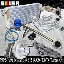 240SX S14 S15 KA24 Cast MANIFOLD+Elbow+Downpipe+Intercooler Kit T3/T4 Turbo Kits