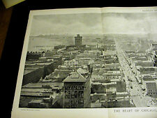 Birds Eye View of CHICAGO from MASONIC BUILDING 1892 HUGE FINE Folio Print