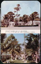 FORT LAUDERDALE FL Bennett Manor Hotel &  Restaurant Vtg Motel Postcard Old FT