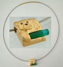 Halsreif Edelstahl m. Goldanhänger Reif u Anhänger Hund vergoldet Halskette Gold
