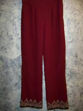 Red Indian India salwar trouser pants side zip wide leg lined gold embroidery