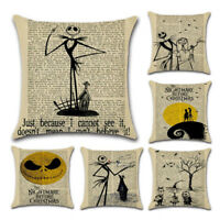 Nightmare Before Christmas Halloween Cotton Linen Pillow Case Cushion Cove KW