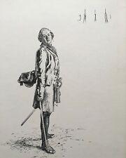 Adolph Menzel: Uniformierter (2) - Friedrich der Große? - Orig. Lithographie