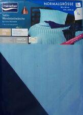 Meradiso Streif Satin Wende Bettwäsche Set 2 teilig Marine/Hellblau 135x200cm