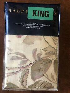 Ralph Lauren WILTON ROSE Pillow Sham King (1) 20X36 Inches New