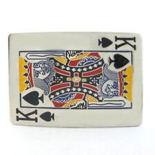 KING OF SPADES CHROME BELT BUCKLE GOTHIC GAMBLER COWBOY BIKER ROCK FIT SNAP BELT