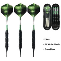 Soft Tip Darts Set with Case Green Aluminum Shafts Flights 20g Professional