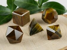TIGERS EYE Platonic Solids Set 5 Piece Lot - Sacred Geometry Stone Crystal E1063