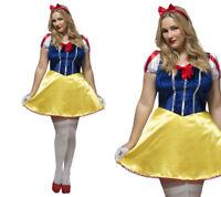 Ladies Curves Snow White Fancy Dress Costume Fairytale Outfit Size L-XXXL