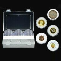 30 Piezas 16 ~ 46mm Moneda Almacenamiento Cápsulas Claro Plástico Redondo Funda