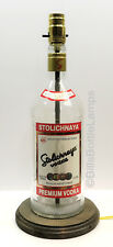 Stoli Vodka Large 1.75L Liquor Bottle Table Lamp Light with Wood Base Bar Lounge