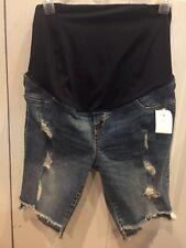 NWT Isabel Maternity Distressed Panel Denim Stretch Bermuda Shorts Size 4
