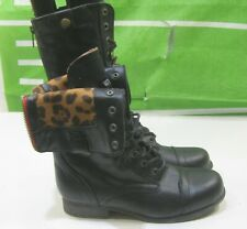 """New Ladies Black 1""""Block Heel Sexy Rugged Combat Ankle Boots Size 7"""
