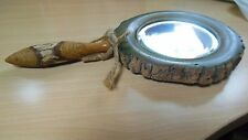 Vintage Hand-Made Carved Wood Hand-Held Mirror