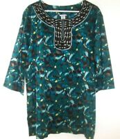 Jaclyn Smith BOHO Tunic Top Or Beach Cover up Plus Size 2X Embroidered Detail