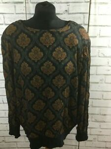 VINTAGE Womens 60s 70s Psychedelic Floral Paisley Boho Crop Blouse Top M