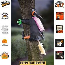 Outdoor Halloween Prop Decorations Crashing Witch Black Wicked Witch Tree Decor