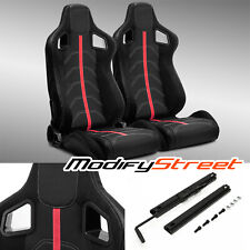 2 x BLACK PVC LEATHER/RED STRIP/RED STITCH LEFT/RIGHT RACING BUCKET SEATS