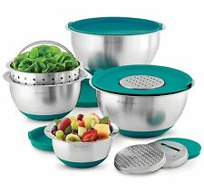 Wolfgang Puck 12 Piece Stainless Steel Mixing Bowl & Prep Set with Teal Lids New