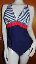 M&S 'Secret Slimming' Optional Padded Halter Plunge Swim Suit 22 Navy Mix BNWoT