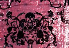 Awesome! Black Felt Skull Damask 2W Stretch Red Burgundy Maroon Twill Fabric Bty