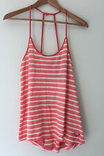 "NWT Roxy Quiksilver Coral Pink White Striped Sexy Surf ""Twin Lakes"" Tank Top M"